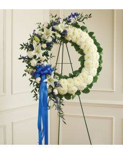 Serene Blessings Blue & White Standing Wreath