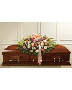 Pastel Mixed Flower Full Casket Cover - Peach