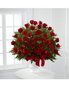 Tribute Red Floor Basket Arrangement With Roses